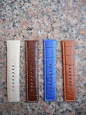 26mm Alligator Crocodile Genuine Leather Watch Band,Strap, White Stitches Men