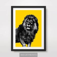 MALE LION ART PRINT POSTER Animals Colourful Big Cats Pop Bright Illustration