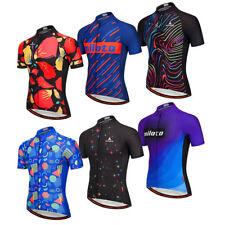 Men's Reflective Cycling Shirts Jacquard Cycle Biking Jersey Short Sleeve Tights