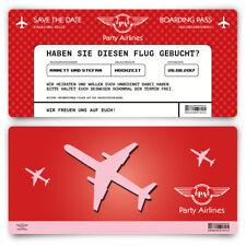 Save the Date Karten zur Hochzeit - Flugticket Motiv in Rot