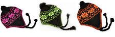 Braided Neon Aviator Ski Beanie Trooper Knit Beanie Winter Snow Hat FREE SHIP