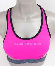 NEW Victoria's Secret PINK Neon & Orange Banded Crop Bikini Top M Medium A-C