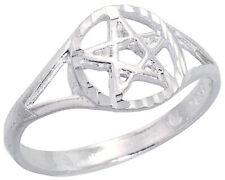 Women 925 Sterling Silver Rhodium Plated, Machine Cut Star Pentagram Ring Band