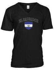 El Salvador Flag Crest Bandera National Country Pride Mens V-neck T-shirt