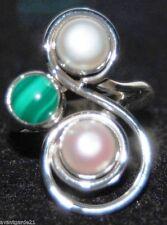 White Pearl Malachite 925 Sterling SILVER Rings Unique Ring Jewelry SALE; O, P,Q