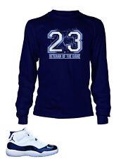 4f6176292d76ea T Shirt To Match AIR JORDAN 11 Veteran of the Game Navy Long Sleeve Pro Club
