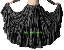 Black - Satin 12 Yard Tiered Gypsy Skirt Belly Dance Tribal Ruffle Jupe Flamenco