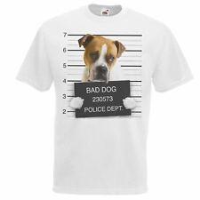 Mens White Dog Mugshot American Johnsons Bulldog T-Shirt Criminal K9 TShirt