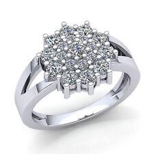 2ct Round  Diamond Womens Cluster Flower Engagement Ring 10K Gold