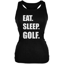 Eat Sleep Golf Black Juniors Soft Tank Top