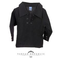 Escocés Niño Lujo Boda Ghillie Camisa en Negro en Gama de Tamaños