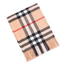 Scarf 100% CASHMERE Camel Plaid tartan Design Soft Warm Made in SCOTLAND