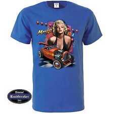 T Shirt royalblau US Car V8 Hot Rod&`50 Stylemotiv Modell Marilyn Monroe