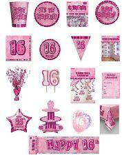 16/16th Cumpleaños Rosa Glitz Fiesta Gama-Fiesta/placas/Servilletas/pancartas/cups