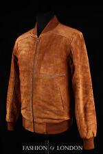 Men's PLAIN SEVENTIES BOMBER Tan Suede Classic 70's Short Hide Leather Jacket