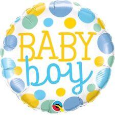 bébé garçon baptême arrivée bleu pois 45.7cm Fête Ballon plat Qualatex