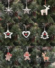 Metal Wooden Reindeer Snowflake Heart Star Christmas Tree Decorations