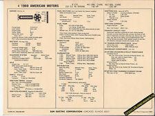 1969 AMERICAN MOTORS AMC 6 Cylinder 232/145-155 hp Car SUN ELECTRONIC SPEC SHEET