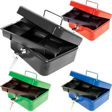 "10"" STEEL MONEY BOX METAL SAFE HOME CASH PETTY DEPOSIT TIN COIN BLACK SECURITY"