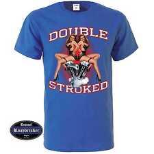 T-Shirt blu reale Vintage HD motivo Biker & oldschool M-XXL Modello Doppio