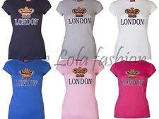 Womens T Shirts Ladies London Tops Union Jack Souvenir Flag Crown Size 8 -14
