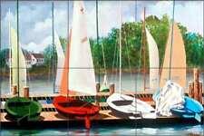 Sailboat Tile Backsplash Harris Nautical Art Ceramic Mural POV-HHA014
