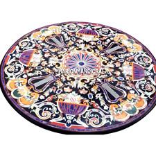 Marble Restaurant Dining Table Top Rare Mosaic Gemstone Arts Inlaid Decor H3008