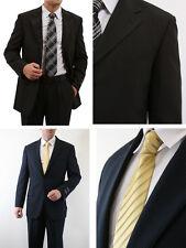 Para hombre de dos botones muesca solapa Delgada Pinstripe frente plano  Pantalones Tailored Fit Traje d538364bd46