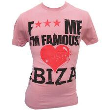 David Guetta Men's T-shirt F*** Me I'm Famous Love Ibiza Vintage Logo PINK