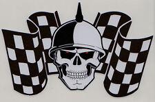 Racing Skull & Chequered Flags Car Motorbike Sticker #2