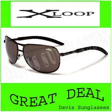 Men's Aviator X Loop Sunglasses XL13504 UV400 Davis E5 brown womens sunnies