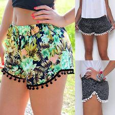 New Women High Waist Tassel Floral Casual Gym Beach Shorts Summer Mini Hot Pants