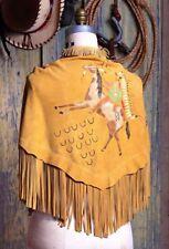 """Western, Southwest SITTING BULL LEATHER SHAWL Deerskin Suede w Fringe 72″ x 22"""""""