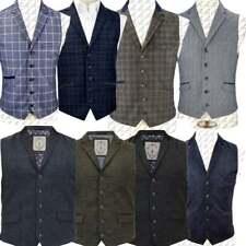 Cavani Mens Waistcoat Wool Mix Cord Formal Vest Herringbone Tweed Check Party