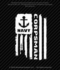 Distressed Navy Corpsman Flag Vinyl Decal Military Window Sticker - 4 Sizes
