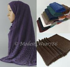 Premium Viscose Maxi Rhinestones Crinkle Hijab Scarf Shawl Muslim 180x90 cm