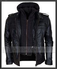 TNA Impact AJ Styles WWE Hooded Black Biker Mens Fashion Leather Jacket