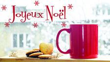 * 1 Sticker Joyeux Noël + Flocons pour fenêtre ou vitrine  35cm ou 50cm