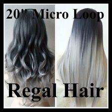 "Tinte 20""DIP/Ombre #1/Gris-Plata 5A Bucle 1G extensiones de cabello humano bucles de Micro"