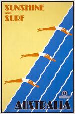 TX78 Vintage Australia Sunshine & Surf Australian Travel Poster Re-Print A4
