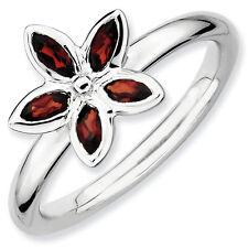 Sterling Silver Stackable Flower Ring Garnet stones, Birthstone Ring QSK487