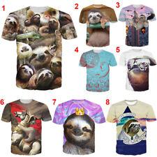 New Women Men Sloth Bradypod Funny Print Casual 3D T-Shirt Short Sleeve Tee