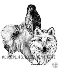 Buffalo Wolf Hawk Totem Spirit Power Animal T-Shirt