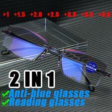 Rimless Reading Glasses Unisex Diamond-cut HD Lens Anti Blue Light Anti Glare