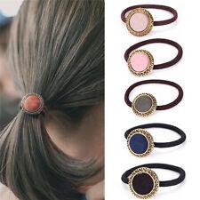 Vintage Women Hair Accessories Elastic Hair Band Headbands Button Headwear TSCA