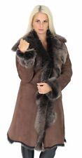 Womens Super Luxury Toscana Long Coat Real Sheepskin GOLD Shearling Suede Jacket