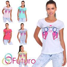 Camiseta De Fiesta Estampado Amor Manga Corta Cuello Redondo 100% Top Algodón