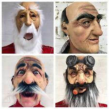Funny Old Man Grandad Mask Grey Beard Latex Masks Costume Fancy Dress Accessory