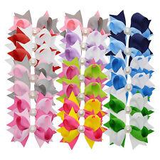 "New Pair Handmade Grosgrain Ribbon 3"" Party Sch Easter Bow Ponytail Hair Clip"