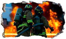 Fire fighter pompier fire man 3D Fenêtre Magique Wall Art Adhésif Sticker Poster 3